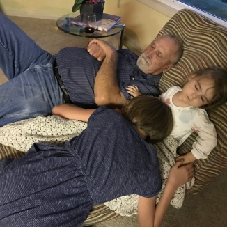 Grandpa sleeping Estella and VV