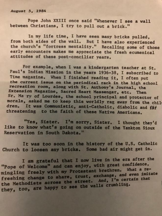 pope brick Agnes letter