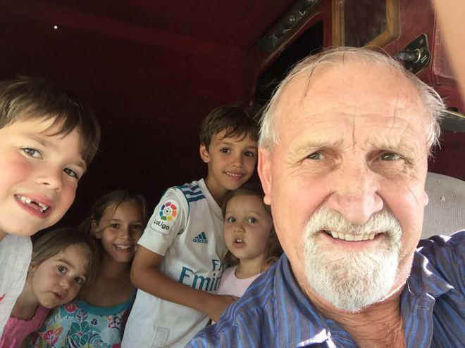 Granpda selfie in semi